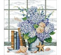 Набор для вышивания счетным крестом Букет цветов у окна 36х35 см (арт. MK040)