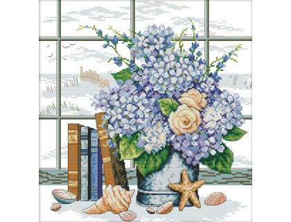 Купить Набор для вышивания счетным крестом Букет цветов у окна 36х35 см (арт. MK040)