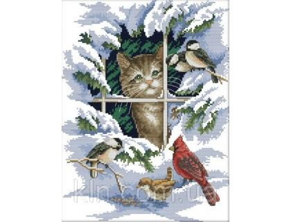 Купить Вышивка крестиком набор Котик и синички 30х37 см (арт. MK049)