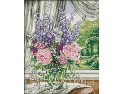 Купить Вышивка крестиком Пионы на окне 48х57 см (арт. MK054)