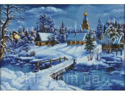 Купить Вышивка крестиком Зимний пейзаж 58х43 см (арт. MK058) канва 14