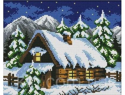 Купить Вышивка крестиком Снежная ночь 29х22 см (арт. MK065) счетный крест с нитками