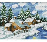 Набор для вышивки крестом Зимний день 29х22 см (арт. MK066) комплект с нитками мулине