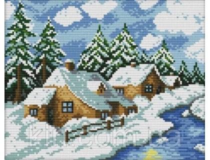 Купить Набор для вышивки крестом Зимний день 29х22 см (арт. MK066) комплект с нитками мулине